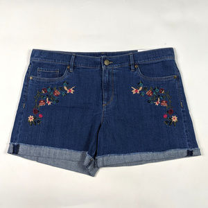 LOFT Denim Roll Short Size 12 Floral Embroidered